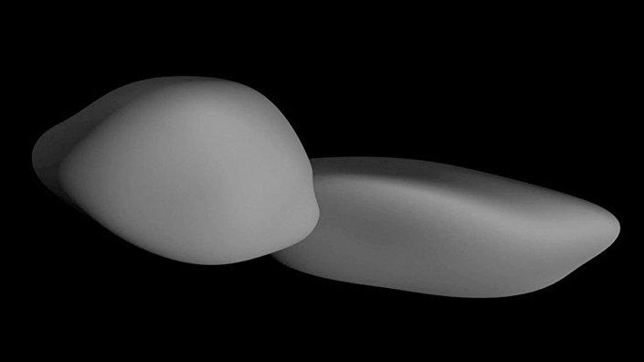 Representação do corpo celeste MU69, também conhecido como Ultima Thule.