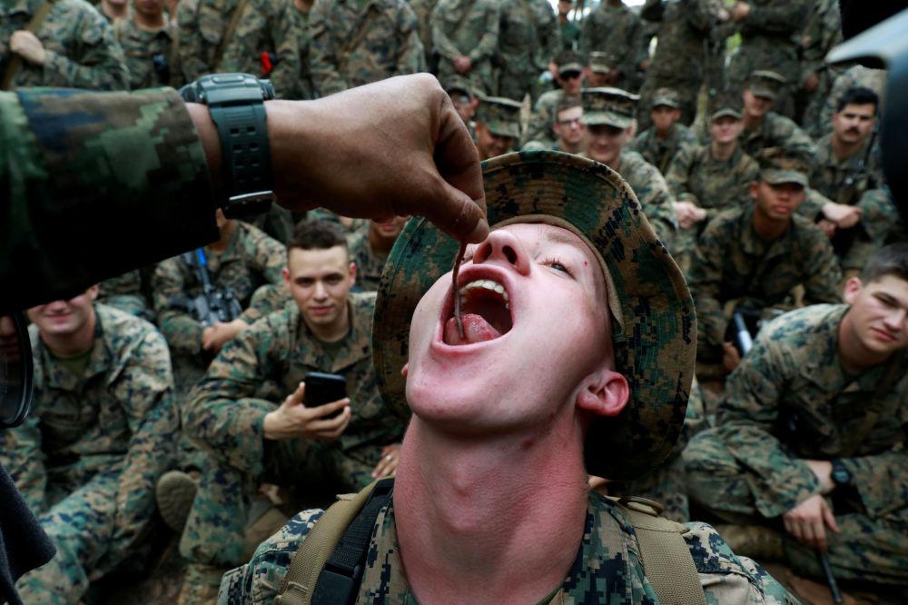 Militar come minhocas durante os treinamentos de sobrevivência, em 14 de fevereiro de 2019, na Tailândia