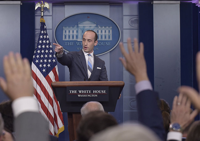White House senior policy adviser Stephen Miller calls on a reporter during the daily briefing at the White House in Washington