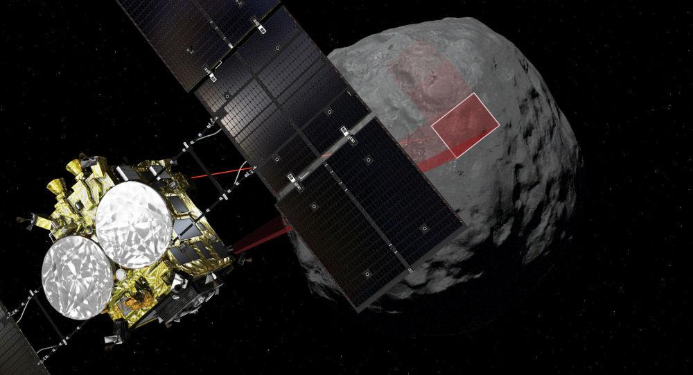 Animação da sonda japonesa Hayabusa 2 na superfície do asteroide Ryugu