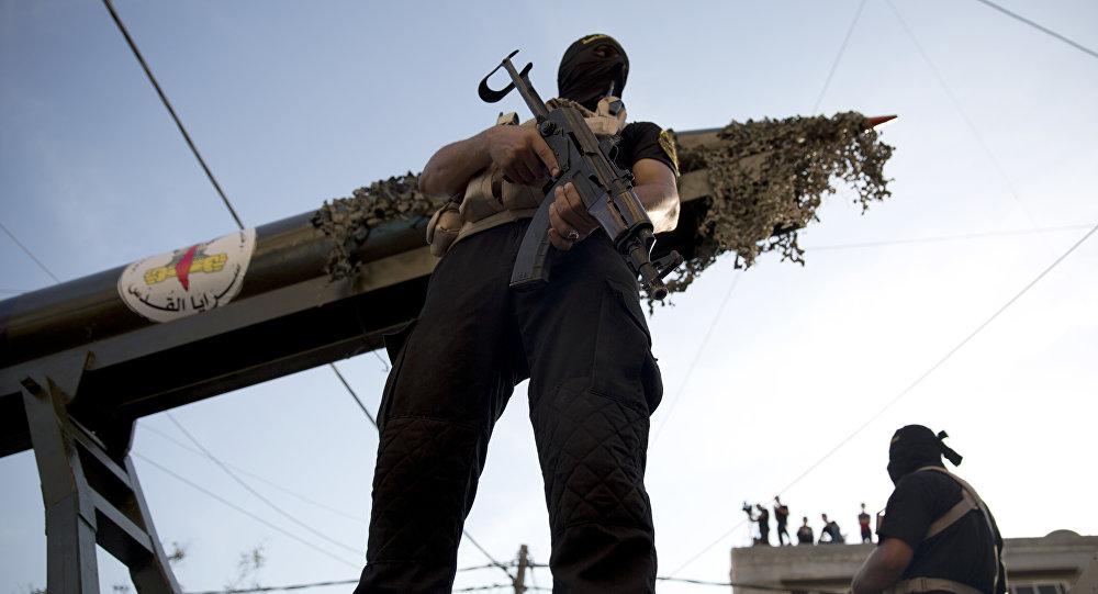 Membros palestinos das Brigadas Al-Quds, a ala militar do grupo Jihad Islâmica
