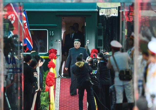 O líder norte-coreano Kim Jong-un chegou à estação na cidade vietnamita de Dong Dang, na fronteira com a China (foto de arquivo)