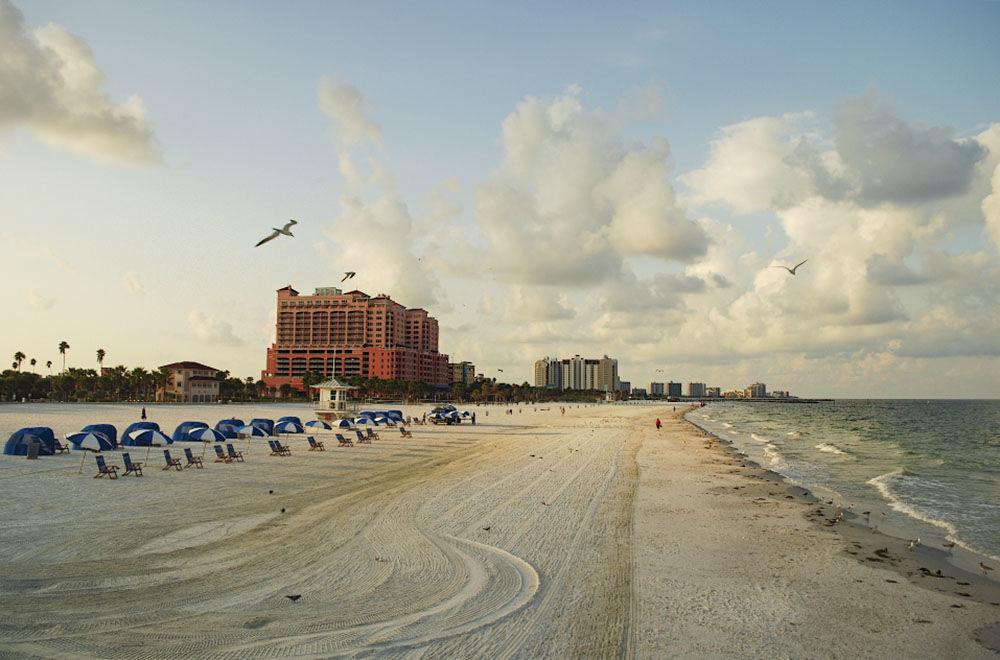 Praia de Clearwater, considerada uma das praias mais belas do estado da Flórida, nos EUA