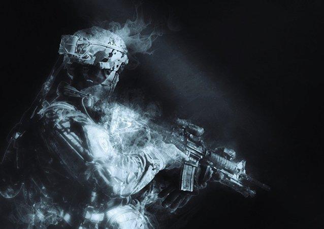 Silhueta de um soldado