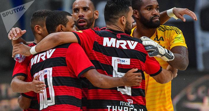 Jogadores do Flamengo após a vitória sobre o Sporting