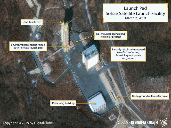 Foto de satélite mostrando a recuperação da plataforma de lançamento de foguetes portadores no cosmódromo norte-coreano de Sohae, feita em 2 de março