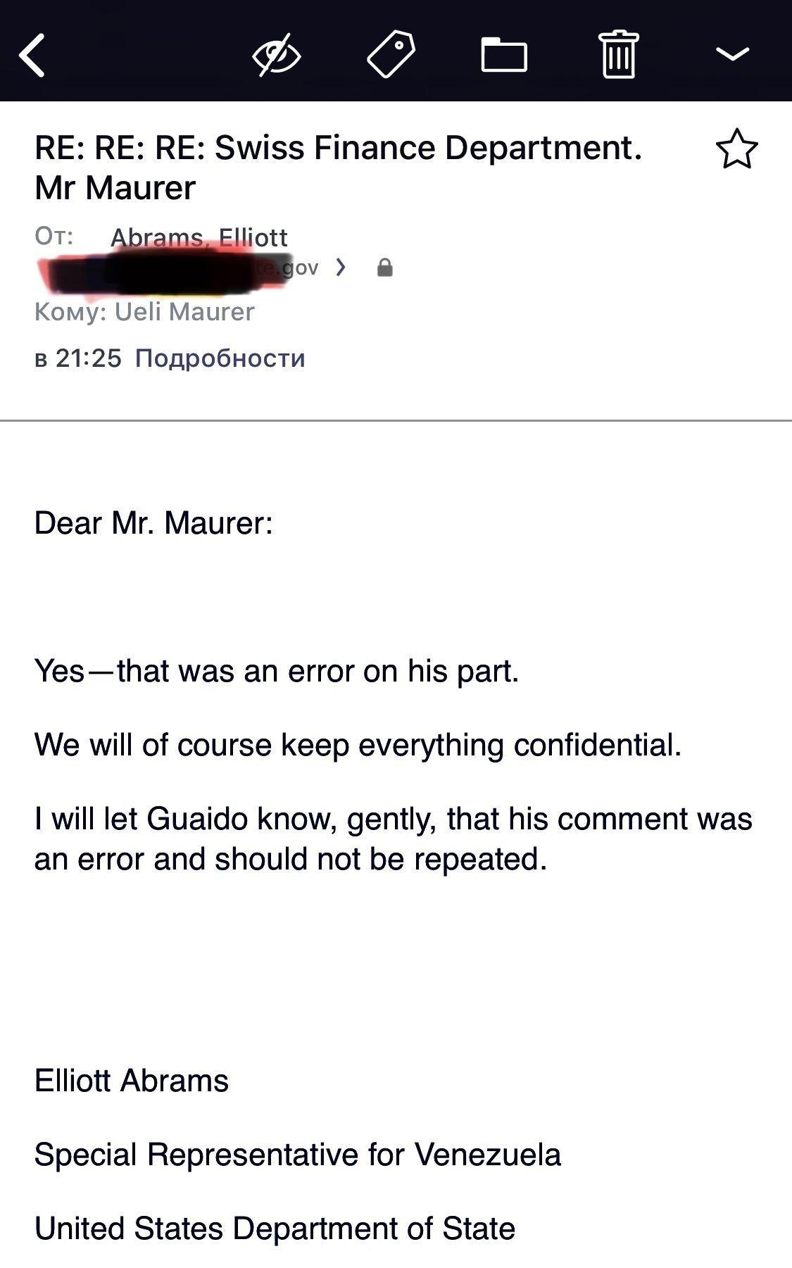 E-mail enviado por Abrams a Maurer