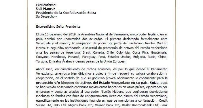 Pedido de bloqueio de supostas contas de Nicolás Maduro em bancos suíços enviado ao Presidente da Suíça