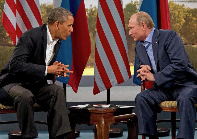 Presidente da Rússia Vladimir Putin e Presidente dos EUA Barack Obama