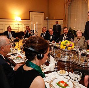 Presidente do Brasil, Jair Bolsonaro, durante jantar em Washington, DC, EUA, em 17 de março de 2019