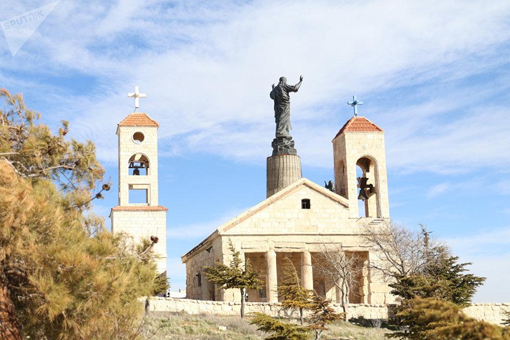 Estátua de Cristo no mosteiro ortodoxo de Querubins, na Síria