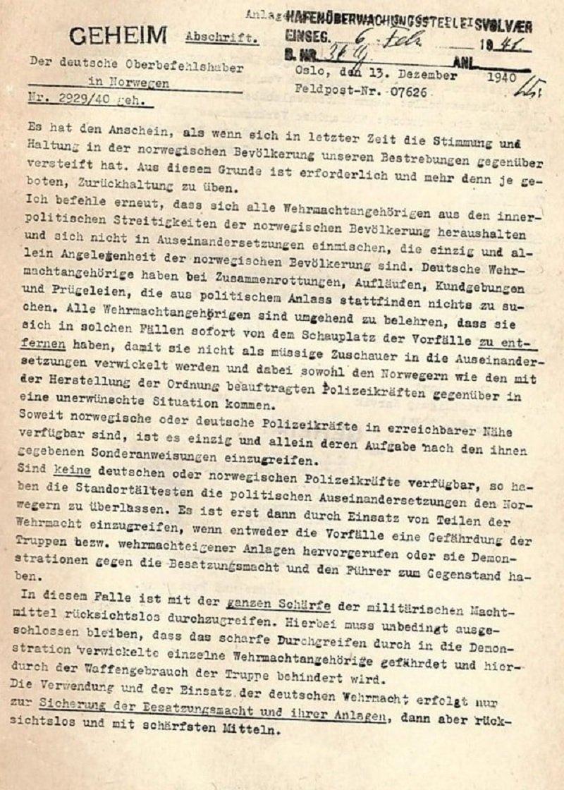 Cópia da primeira página da carta do general Nikolaus von Falkenhorst às tropas, que está no livreto publicado pelo governo britânico