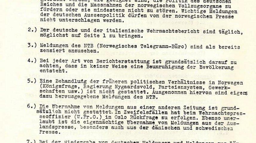 Cópia de um documento alemão que detalha como a imprensa norueguesa deveria agir sob a ocupação nazista