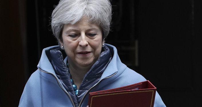 Britain's Prime Minister Theresa May leaves 10 Downing Street in London, Monday, March 25, 2019
