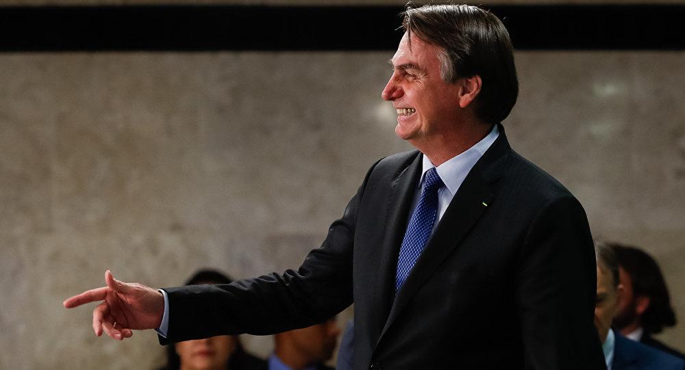 O presidente brasileiro, Jair Bolsonaro, na solenidade de sanção da Lei de Cadastro Positivo, em Brasília, em 8 de abril de 2019