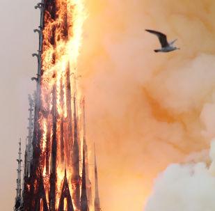 Fumaça e fogo engolem a torre da Catedral de Notre-Dame em Paris.