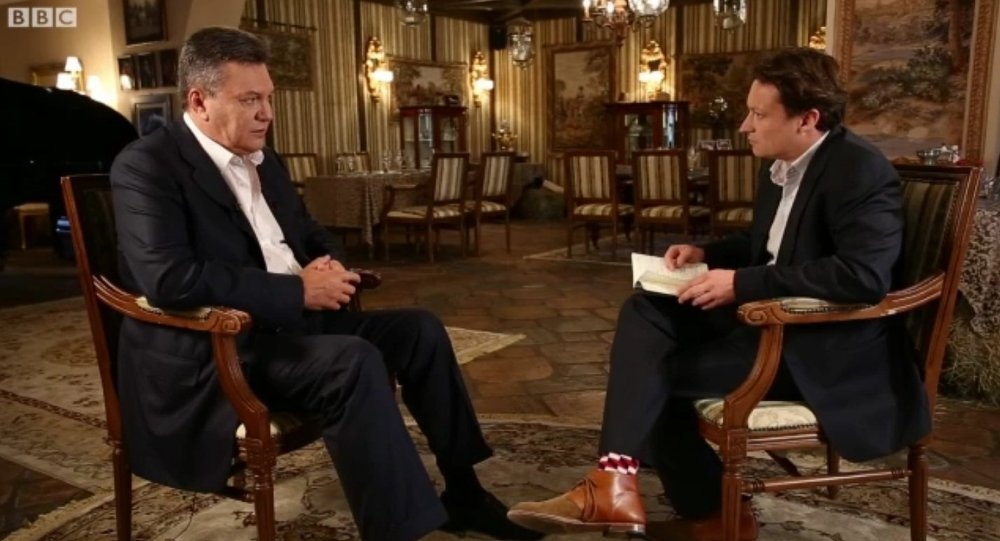 Viktor Yanukovich, ex-presidente ucraniano, durante entrevista à BBC