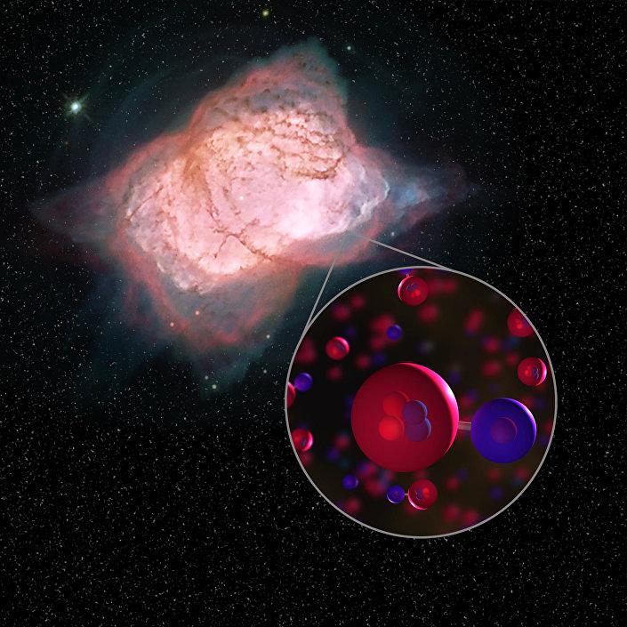 Impressão artística da primeira molécula do universo, hidro-hélio, na nebulosa  NGC 7027