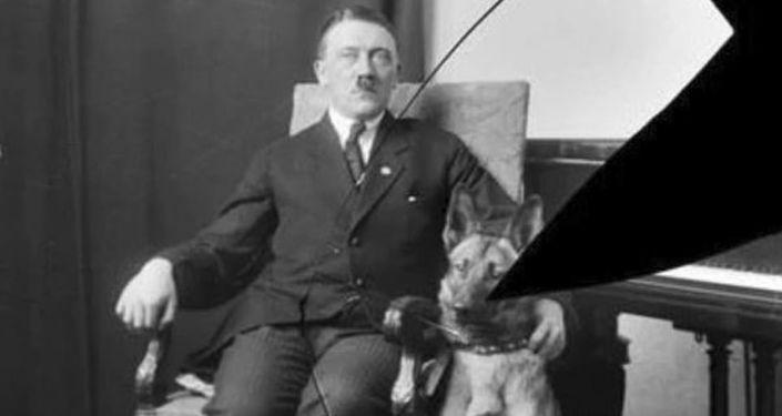 Foto rara de Adolf Hitler com seu pastor alemão