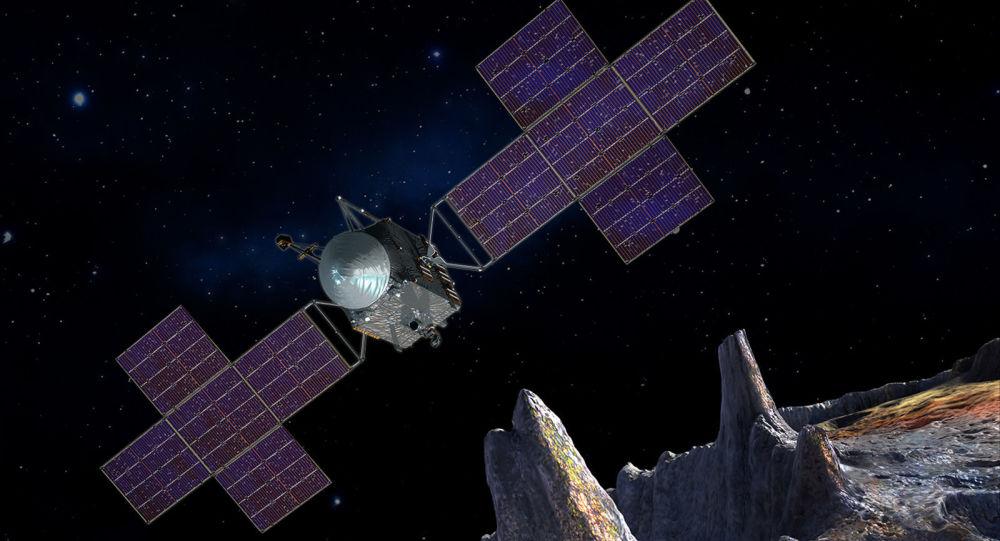Imagem artística da sonda para missão Psyche da NASA