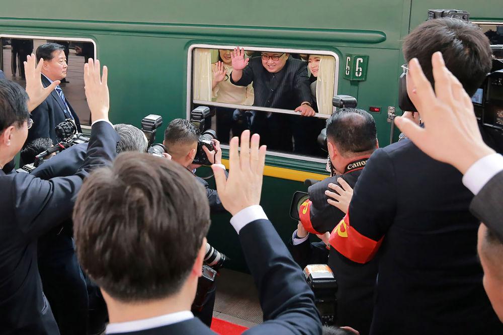 O trem do líder norte-coreano estaciona na estação ferroviária de Pequim