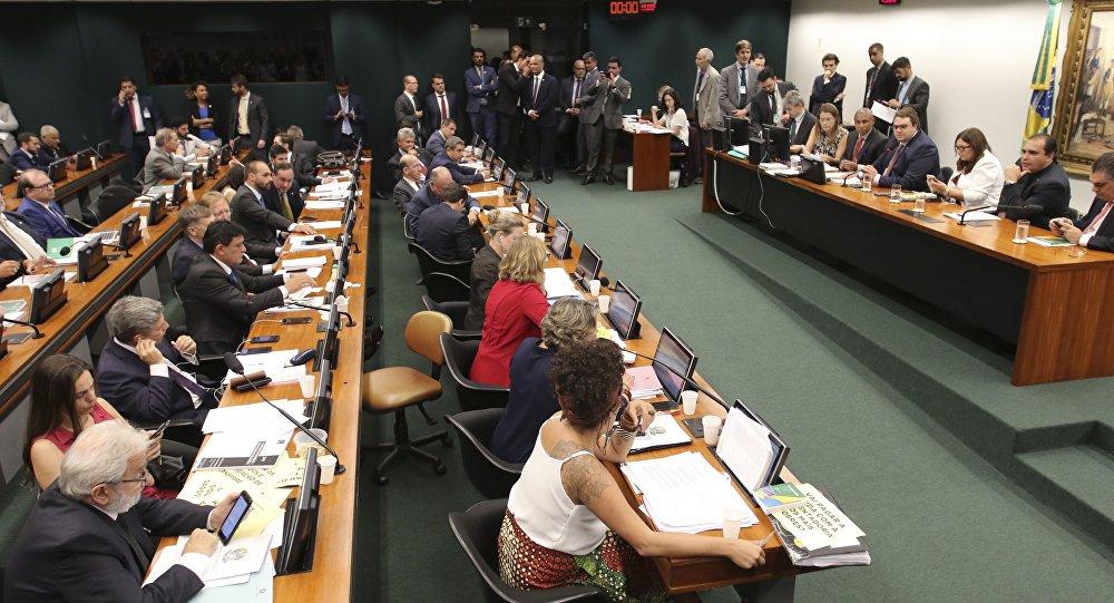 Comissão de Constituição e Justiça (CCJ) da Câmara dos Deputados durante reunião do colegiado destinada a votar o parecer do relator Marcelo Freitas sobre a reforma da Previdência.