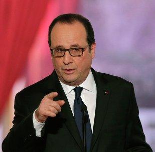 O presidente francês, François Hollande, durante uma coletiva no palácio do Eliseu em fevereiro de 2015