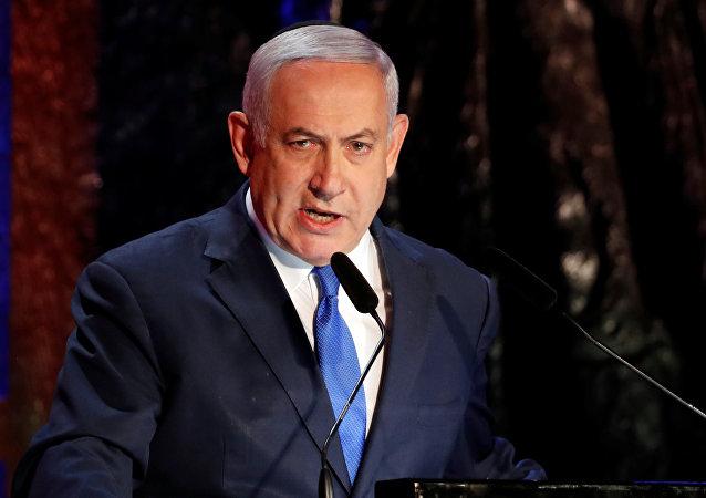 Primeiro-ministro de Israel Benjamin Netanyahu durante discurso em Jerusalém, Israel, 1 de maio de 2019