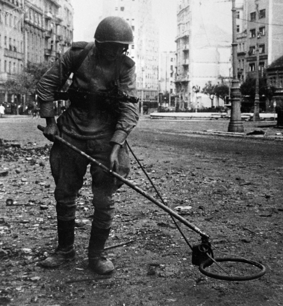 Sapador soviético durante desminagem de uma das praças de Belgrado