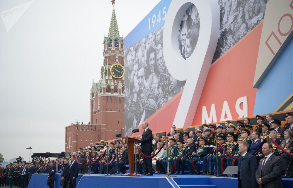 Presidente da Rússia, Vladimir Putin, durante a parada militar