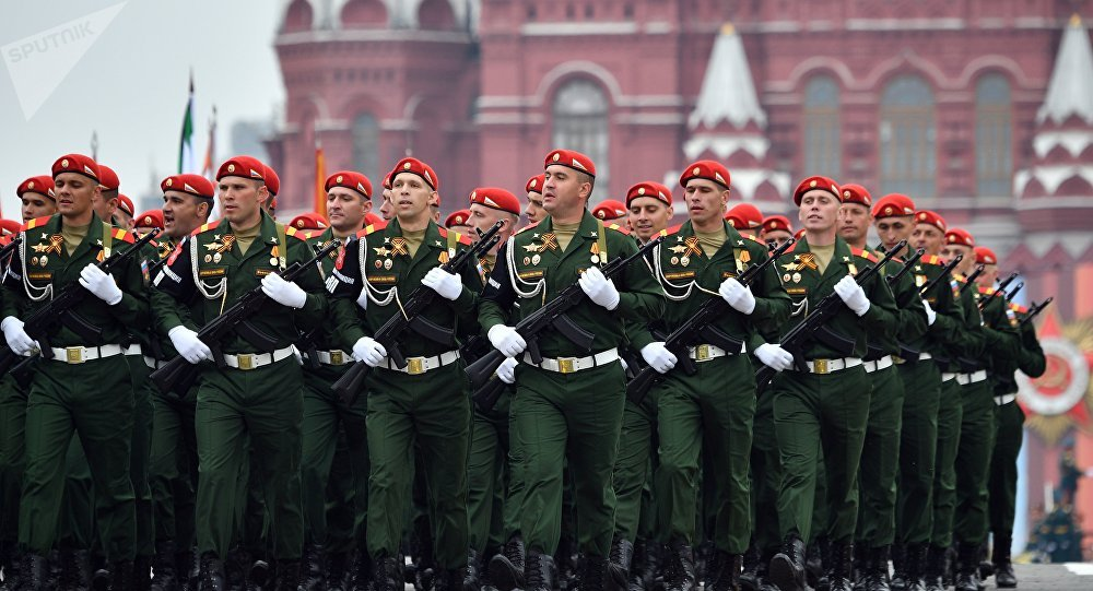 Formatura da Polícia Militar das Forças Armadas da Federação da Rússia na Parada da Vitória, 9 de maio de 2019