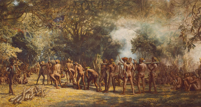 Festa canibal na ilha de Tanna, Charles E. Gordon Frazer (1863-1899)