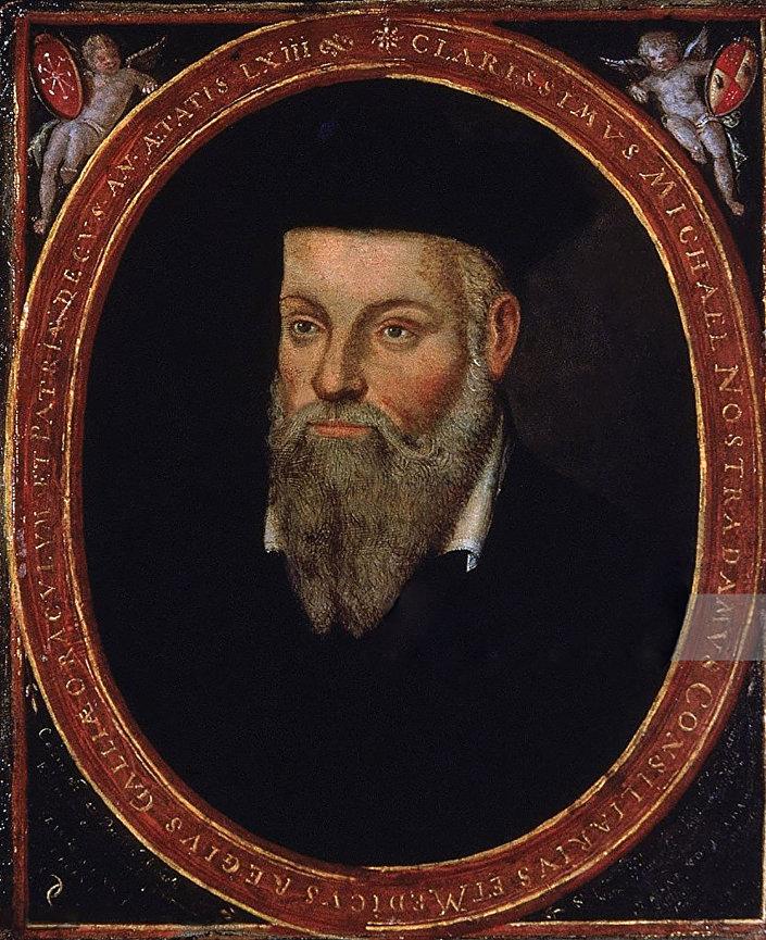 Retrato de Michel de Nostredame (Nostradamus), médico e astrólogo renascentista francês