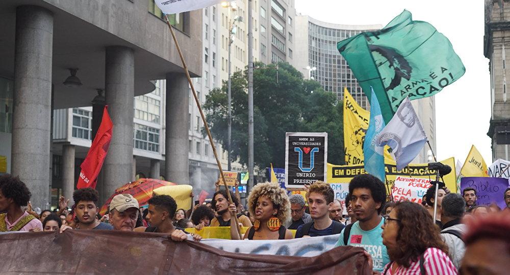 Ato de estudantes realizado no centro do Rio de Janeiro em 30 de maio