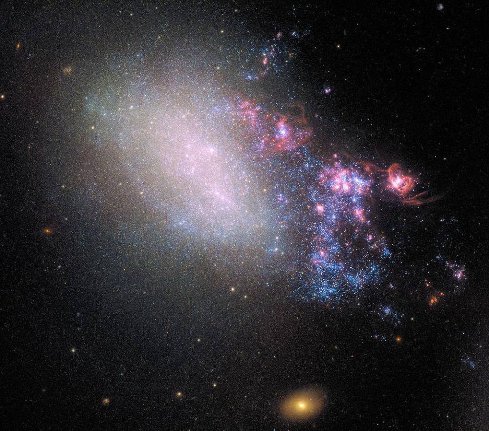 Galáxia NGC 4485 na constelação de Cães de Caça (Canes Venatici) que até hoje preservou os traços de colisão com a galáxia vizinha que ocorreu há milhões de anos