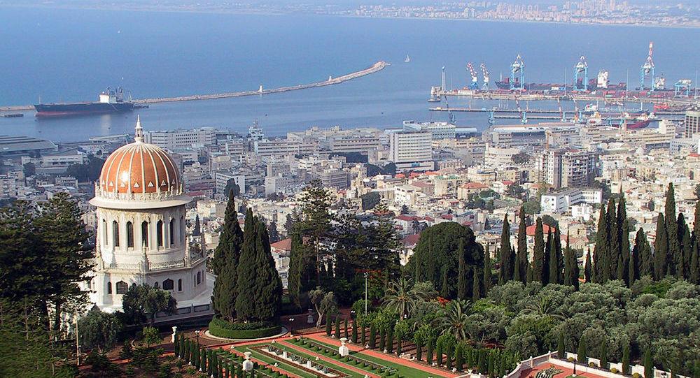 Vista do porto de Haifa