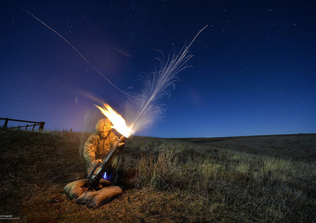 Paratrooper firing a mortar