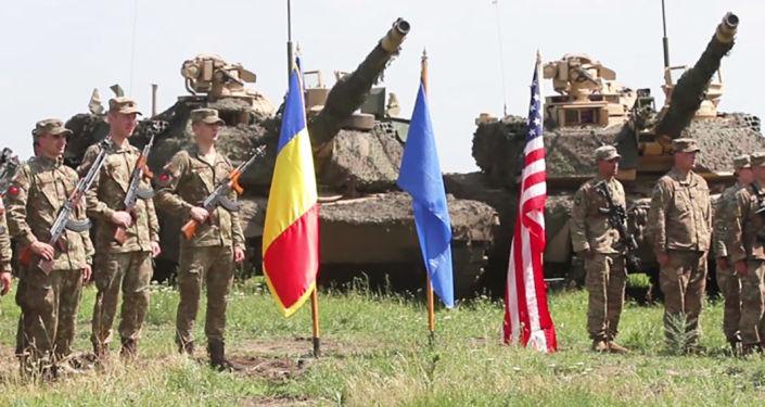 Militares na cerimônia da abertura dos exercícios militares Justice Eagle 19, na Romênia