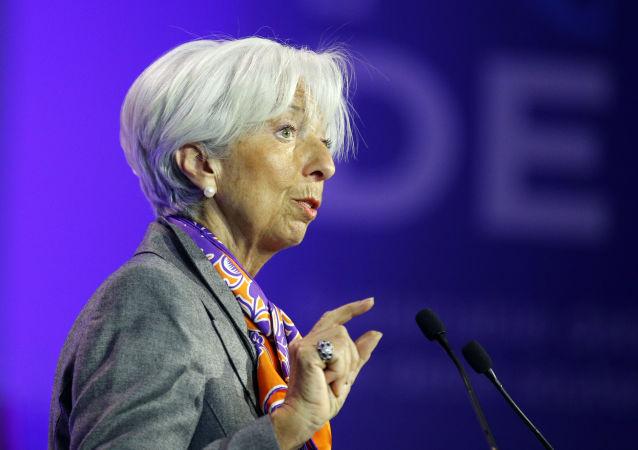 Christine Lagarde, diretora-geral do Fundo Monetário Internacional (FMI), discursa no Fórum de Paris no dia 7 de maio de 2019.
