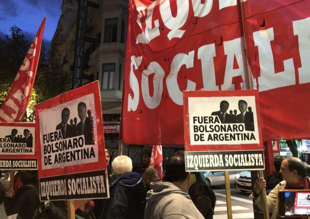 Manifestações contra Bolsonaro em Buenos Aires
