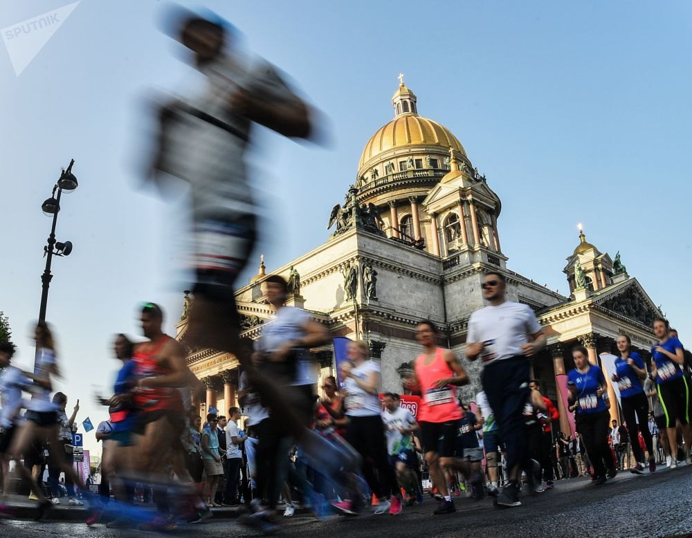 Participantes da corrida durante o Fórum Econômico Internacional de São Petersburgo, Rússia