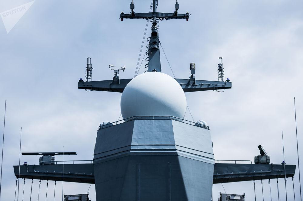 Antenas na corveta Sovershenny, da Frota do Pacífico