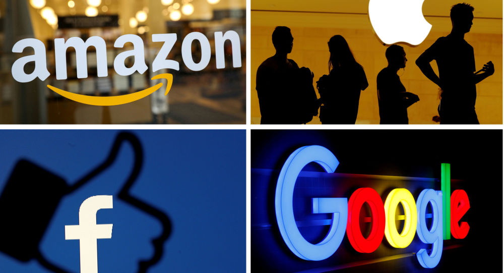 Logotipos da s empresas Amazon, Apple, Facebook e Google