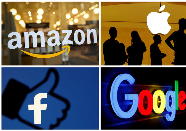 Logotipos da s empresas Amazon, Apple, Facebook e Google