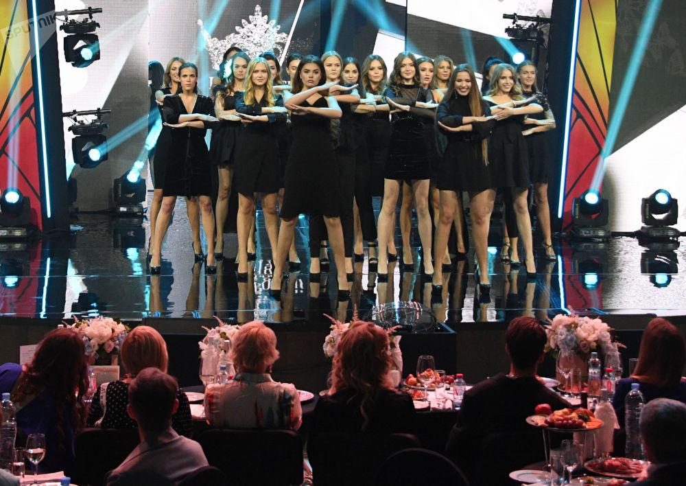 Participantes da final do concurso Beleza Russa 2019 realizada em Moscou