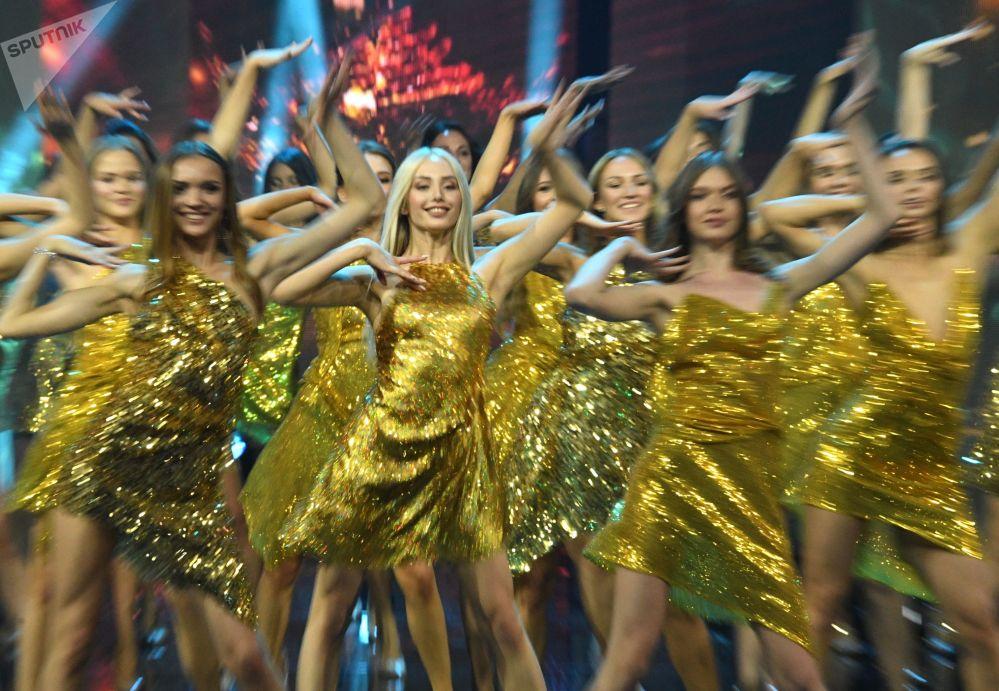 Participantes se apresentam na final do concurso Beleza Russa 2019 realizada em Moscou