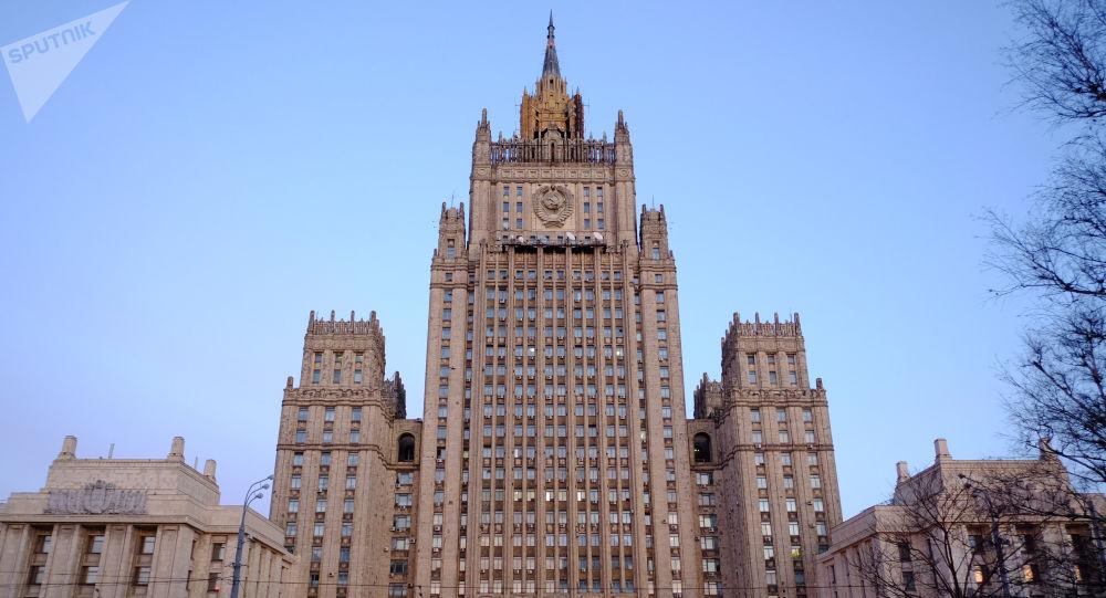 O edifício do Ministério das Relações Exteriores russo na Praça Smolenskaya-Sennaya, em Moscou