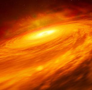 Impressão artística do disco fino de material circulando um buraco negro supermassivo no coração da uma galáxia espiral NGC 3147