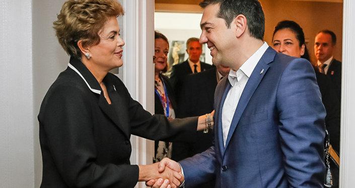 Dilma Rousseff durante encontro bilateral com Primeiro-ministro da Grécia, Aléxis Tsípras