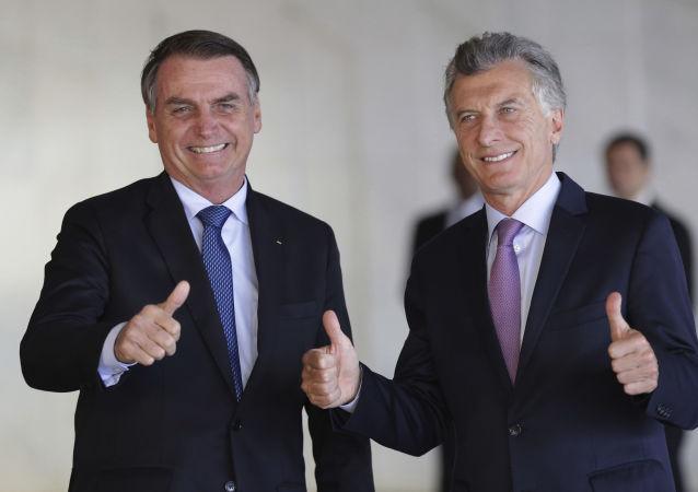 Presidente Jair Bolsonaro, do Brasil, encontra o seu homólogo argentino, Mauricio Macri, para almoço no Itamaraty em 16 de janeiro 2019